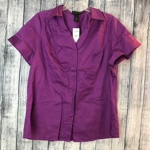 NWT Lane Bryant size 18 purple button down